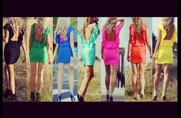 dress rainbow colour cute dress back
