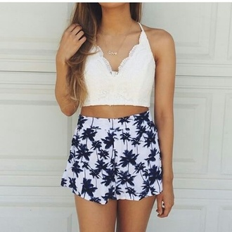 top crop tops lace knitted white summer beach bralette shorts