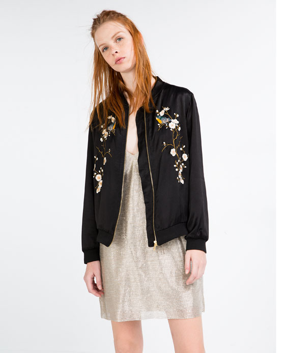 FLORAL EMBROIDERED BOMBER JACKET BOMBERS WOMAN | ZARA Serbia