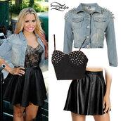 jeans,studs,spikes,shirt,skirt,black leather skirt,jacket
