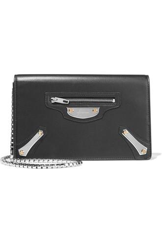 metal bag shoulder bag leather black
