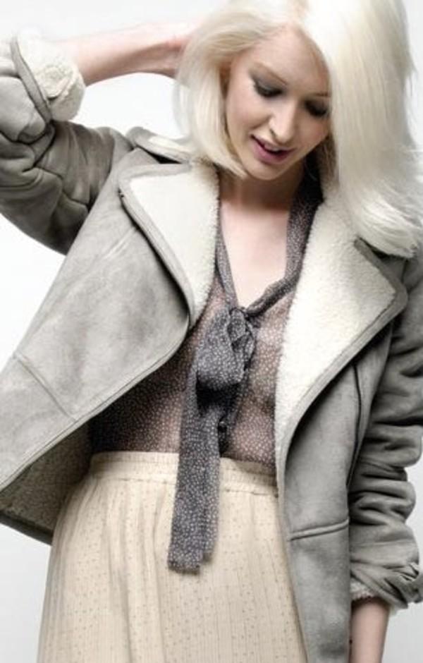 Diesel Hedera Grey Shearling Jacket at Coggles.com online store