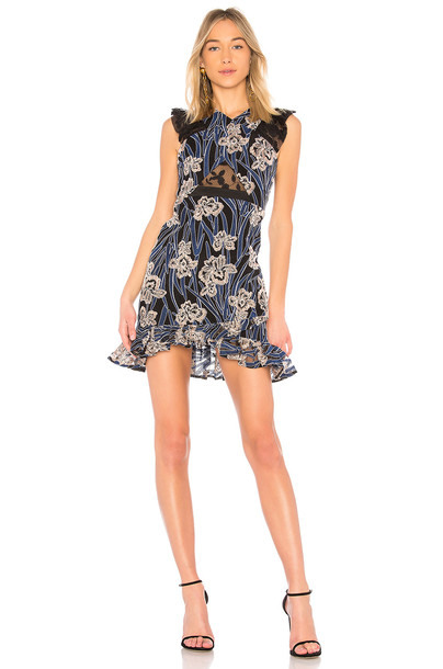 Three Floor dress embroidered dress embroidered blue