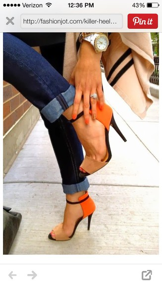 orange heals jeans fashion shoes heels orange jeans high heels