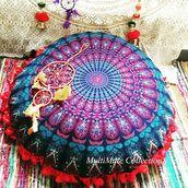 home accessory,multimatecollection,round pillow,large round pillow,bohemian indian pillow,hippie pillow,mandala wall hanging,bohemian,bedroom pillows,decorative pillow