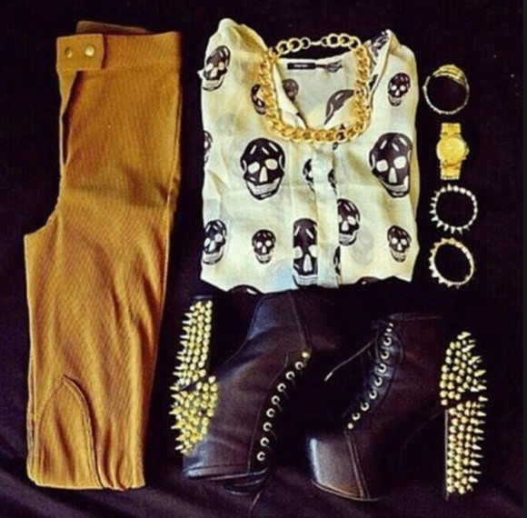 brown pants shoes blouse black skull white ankle boots black ankle boots spiked shoes