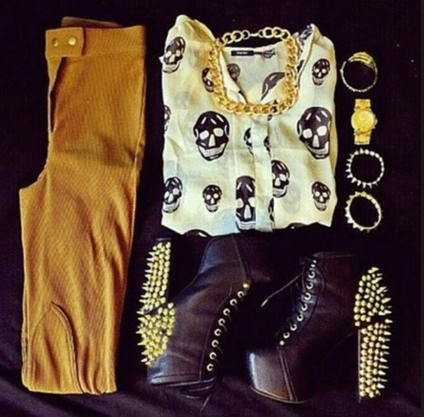 shoes skull black white ankle boots black ankle boots spiked shoes brown pants blouse