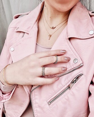 jewels tumblr jewelry gold jewelry knuckle ring ring jacket pink jacket necklace gold necklace nail polish nails glitter nail polish glitter nail accessories nail art pink nails glitter nails silver ring leather jacket