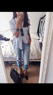 stripes,light blue,baby blue,long sleeves,blouse,myboyfriendjeans,bfyeans,boyfriend jeans,sunglasses,jewels,bag,casual,fashion inspo,style,streetlook,streetwear,streetstyle,on point,on point clothing,jeans,pants,modern,pale,serene,indie,girl fashion,striped skirt,striped top,fashion,blue shirt,shirt,heels,tumblr,classy,button up blouse