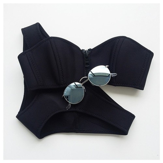 swimwear zip black bikini classy style