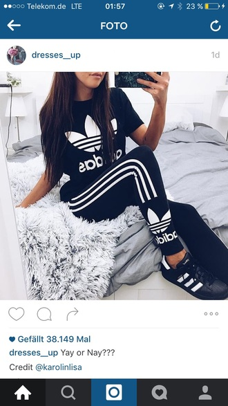 jumpsuit leggings shirt adidas adidas shirt cute hot perfecto workout fitness dress girly make-up style fashion toast shorts shoes