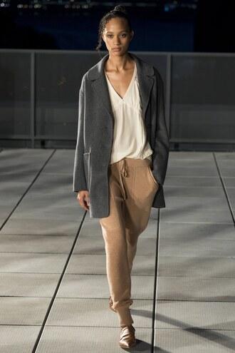 pants thakoon ny fashion week 2016 runway model fall outfits fall colors top coat