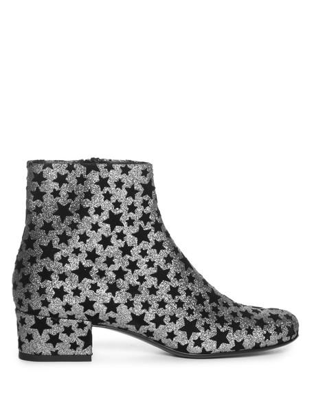 Saint Laurent glitter embellished ankle boots silver black shoes