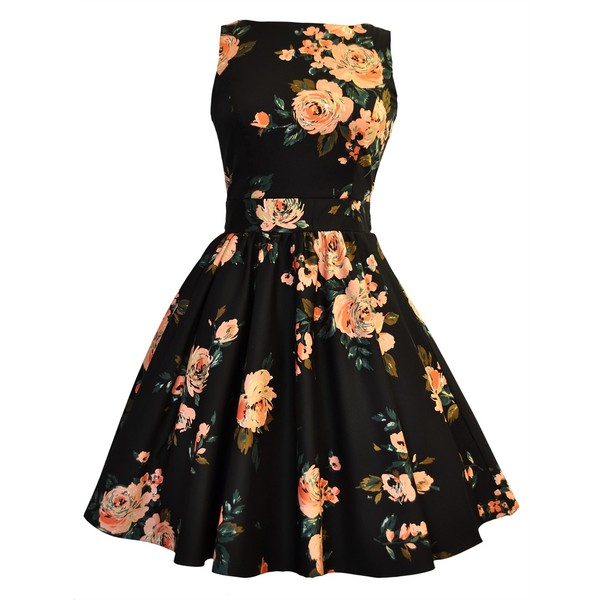 Black Pink Rose Print Tea Dress - Polyvore