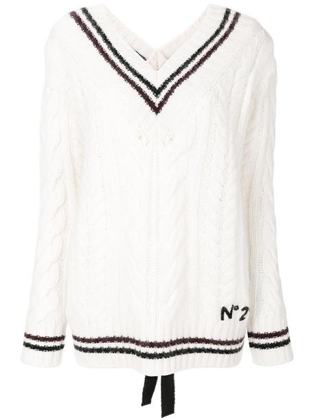 No21 jumper women mohair white wool sweater