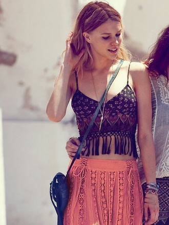 shirt indie hipster vintage festival indian chic tribal pattern skirt blouse crochet lace bohemian boho hippie hippie chic