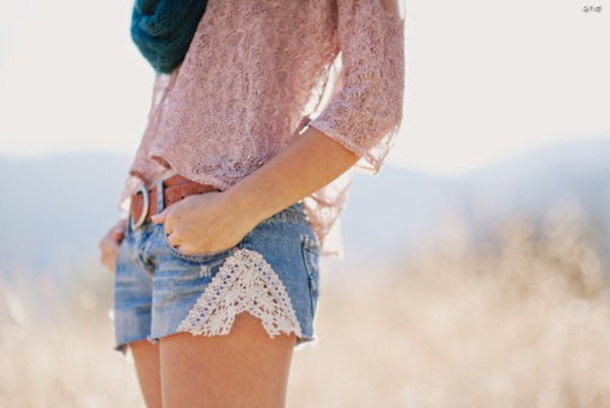shorts lace belt shirt