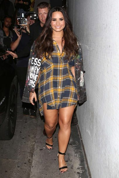 33a55b5c178 shoes, plaid, shirt, shirt dress, sandals, sandal heels, demi lovato ...