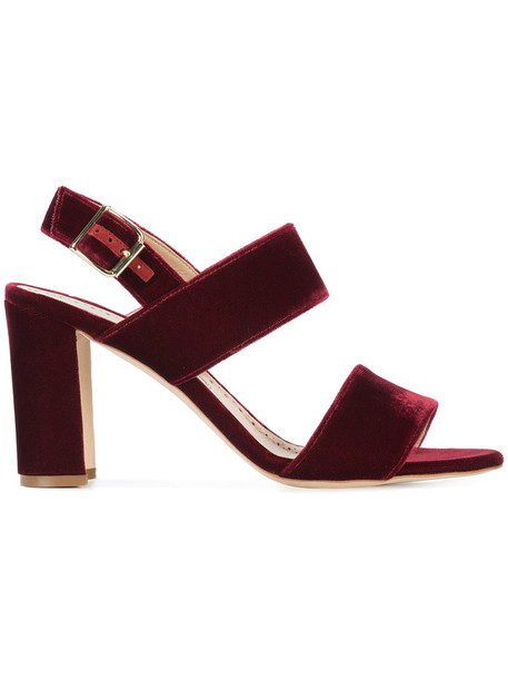 Manolo Blahnik women sandals leather silk velvet red shoes