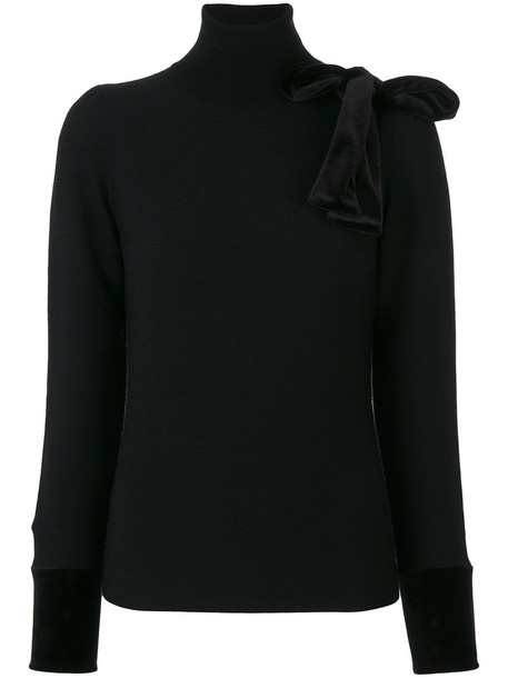 Emporio Armani pullover bow women spandex black wool sweater