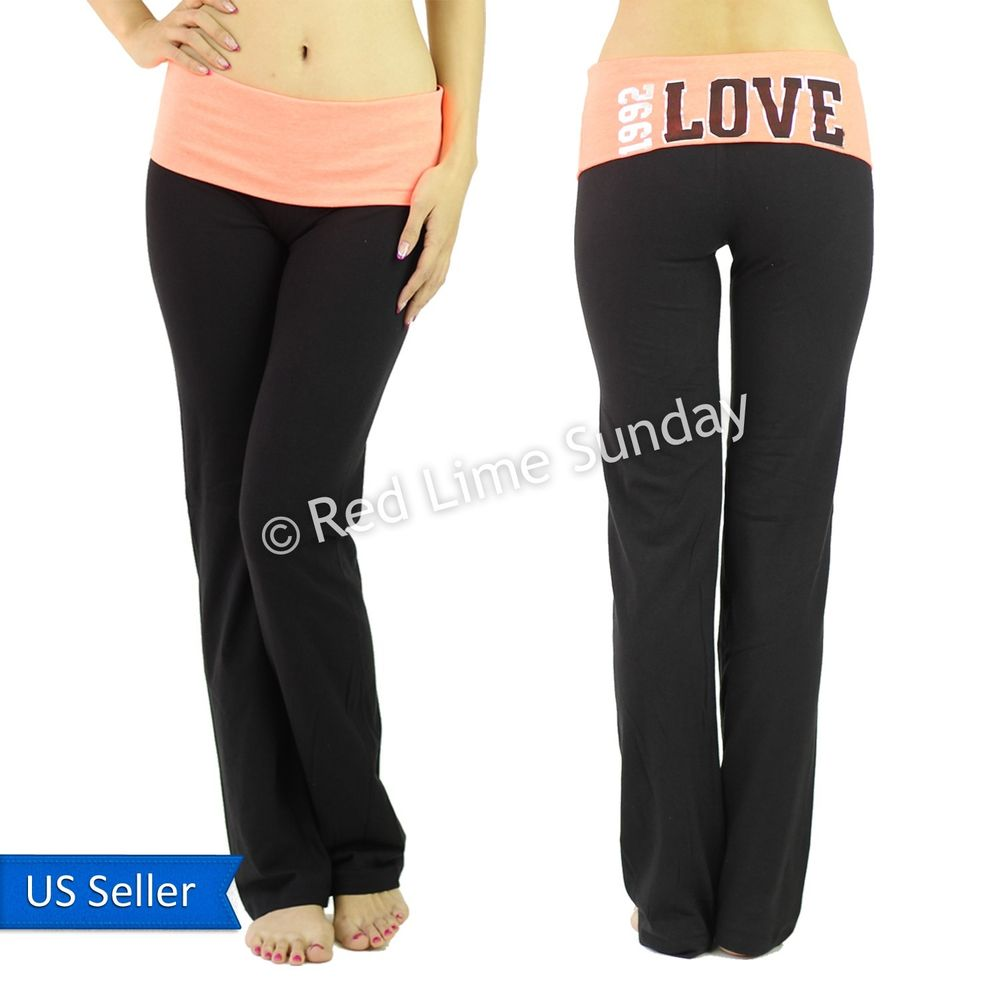 Women Orange Black Fold Over Waist Love Print Yoga Pants Leggings Gym Sweatpants