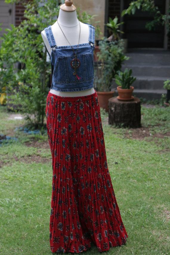 70s bohemian pleated maxi skirt by morningthrift