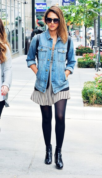 jacket white striped dress denim jacket sunglasses black tights black boots blogger