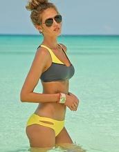 swimwear,sunglasses,yellow,yellow swimwear,gray swimwear,sporty,bikini,summer outfits,yellow top,bikini bottoms,bikini top,bikini's