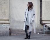 by funda,blogger,jeans,jewels,sweater dress,grey coat,long coat,black boots,winter coat,grey long coat
