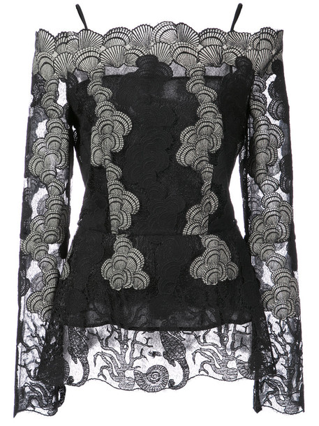 blouse off the shoulder women lace black top