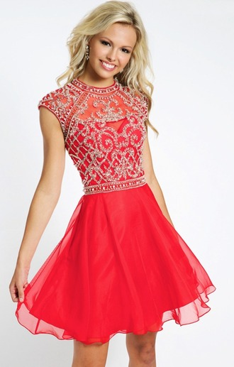 dress short dress sparkly dress red dress
