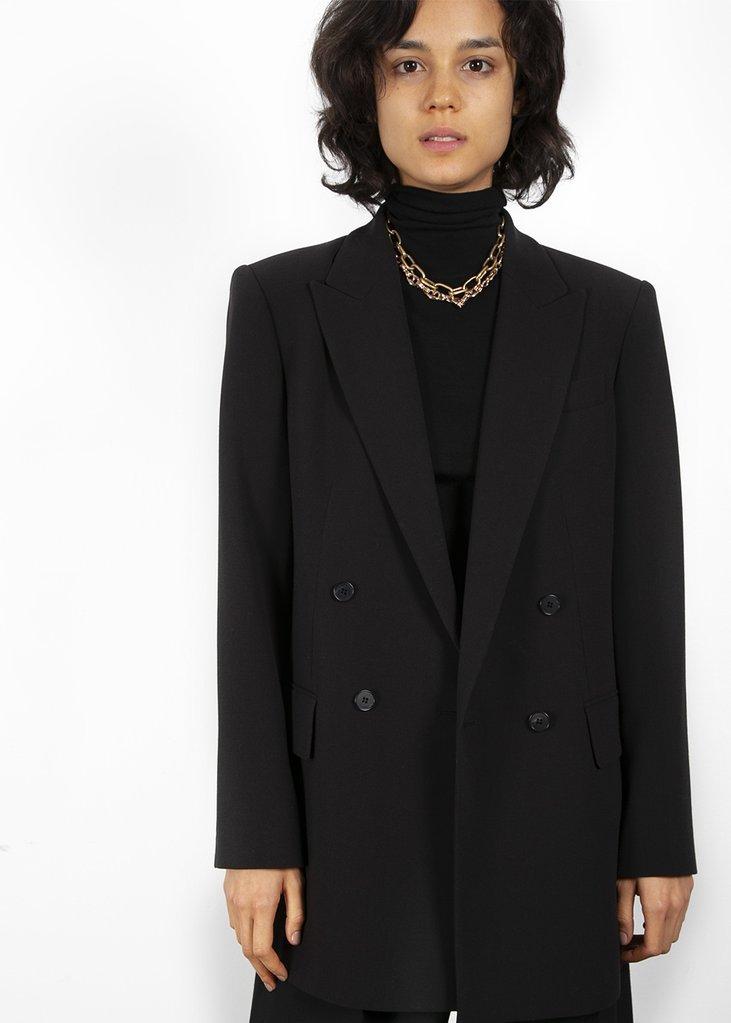 Double Breasted Suit Blazer in True Black