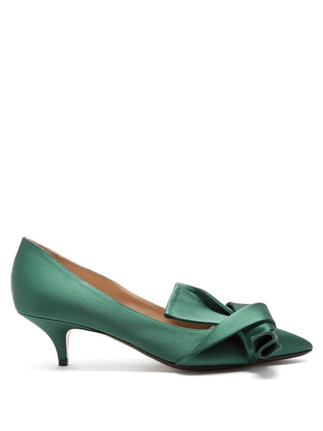 No. 21 pumps satin green shoes