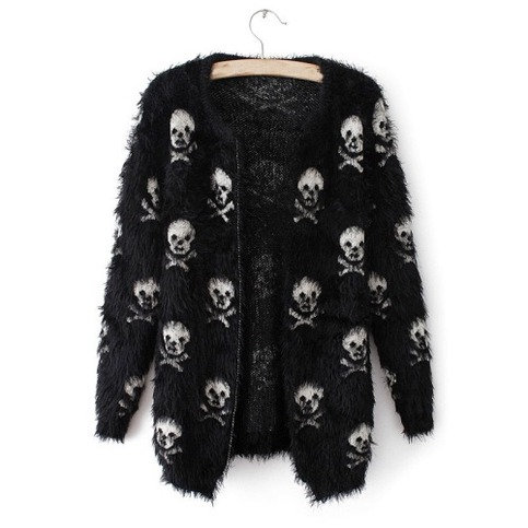 Cute skull allover soft knit mohair cardigan