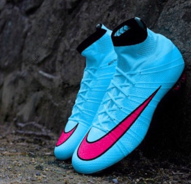 84551b9854c3 shoes, neon blue and pink nike mercurial cleats - Wheretoget
