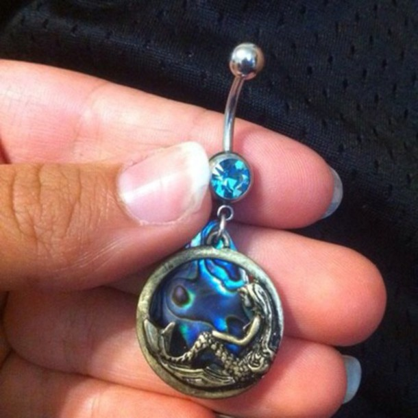 jewels belly button ring blue gems stone mermaid
