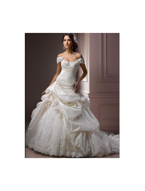 Taffeta and Tulle Sweetheart Strapless Neckline A-Line Wedding Dress with Detachable Cap Sleeves  - Bridal Gowns - RainingBlossoms