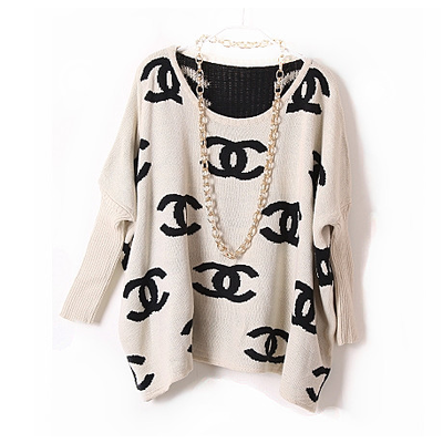 Black Sweater - Chanel Inspired Logo Sweater | UsTrendy