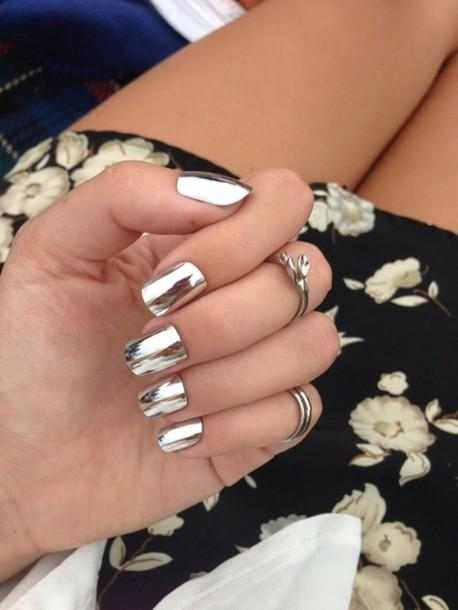Nail Polish Silver Mirror Jewels Skirt Metallic