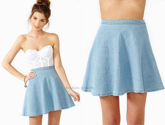 Pics For u0026gt; Denim Skater Skirt Outfit Tumblr