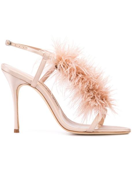 cd6d14c4d706a Manolo Blahnik Manolo Blahnik Eila sandals, Women's, Size: 35, Pink/Purple,  Leather/Ostrich Feather/Satin