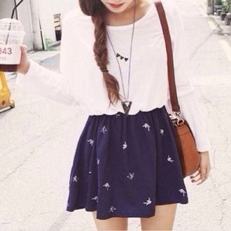 skirt blue with white patto navy print tumblr outfit