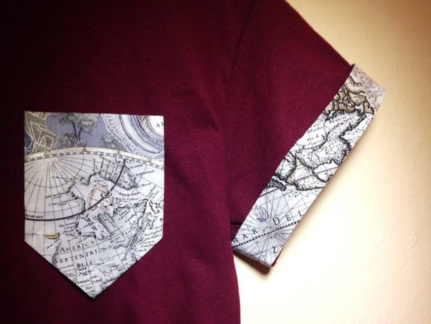 shirt burgundy map t-shirt map print pocket t-shirt top asomwone red red shirt