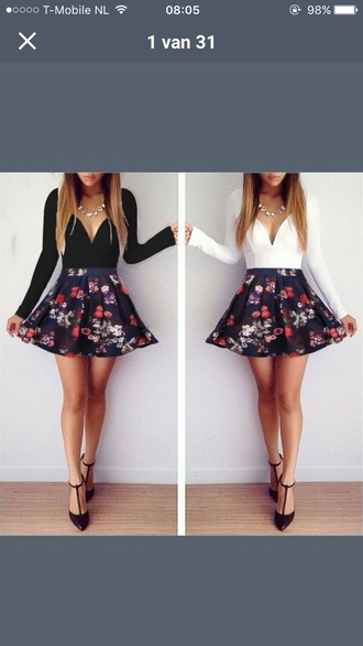 dress flowers cute short black and white