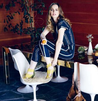 shoes sandals yellow pants leighton meester editorial