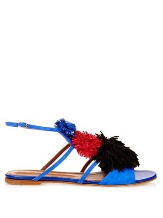 sandals flat sandals suede blue shoes