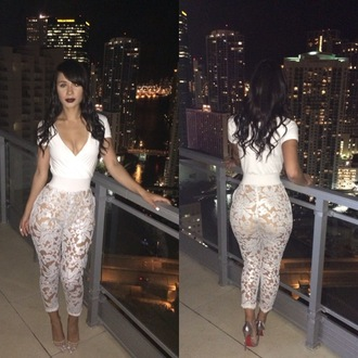 jumpsuit lace white louboutin