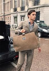 bag,brown suede,brown leather,suede bag,shoulder strap,sabs,mens bag,fashion bag,menswear,mens holdall