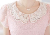 top,shirt,pink,cute,lace,pastel pink,jewels,necklace