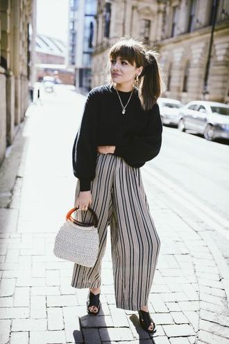 shoes black sweater sweater bag handbag sandals black sandals necklace wide-leg pants
